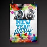 Neues Jahr-Partei-Feier-Plakat-Schablonenillustration mit Ball des Text-3d 2018 und der Disco auf glänzendem buntem Hintergrund Lizenzfreie Stockfotos