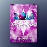 Neues Jahr-Partei-Feier-Plakat-Schablonenillustration mit Ball des Text-3d 2018 und der Disco auf glänzendem buntem Hintergrund Stockbilder