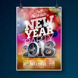 Neues Jahr-Partei-Feier-Plakat-Schablonenillustration mit Ball des Text-3d 2018 und der Disco auf glänzendem buntem Hintergrund Stockfoto