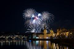 Neues Jahr Prags ` s Feuerwerke 2018 lizenzfreies stockfoto