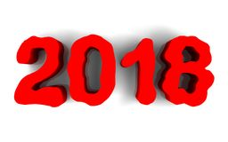 Neues Jahr rotes glattes 3D erscheint im weißen Hintergrund Stockfoto