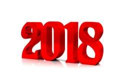 Neues Jahr rotes glattes 3D stellt weißen Hintergrund dar Stockfotos