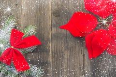 Neues Jahr ` s Dekorationen, rustikales, Rot und Weiß Lizenzfreies Stockbild