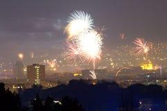 Neues Jahr ` s Eve Fireworks Varna Bulgaria Lizenzfreie Stockfotos