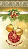 Neues Jahr ` s Eve Grußkarte mit einer Uhr, Bällen und Glocken Lizenzfreie Stockfotos