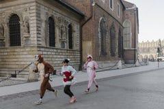 Neues Jahr ` s Eve laufen in Krakau Lizenzfreie Stockfotografie