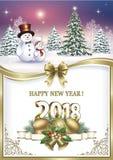 Neues Jahr ` s Eve 2018 mit Weihnachtsbaum Lizenzfreie Stockfotografie