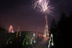Neues Jahr ` s Feuerwerke 2018 Stockfoto
