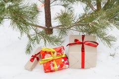 Neues Jahr ` s Geschenke liegen unter einem Tannenbaum Lizenzfreie Stockbilder