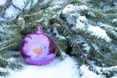 Neues Jahr ` s Stillleben mit einer Glaskugel im Schnee Lizenzfreie Stockfotos