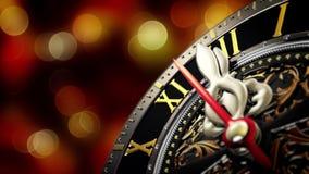 Neues Jahr ` s um Mitternacht - alte Uhr mit Sternschneeflocken auf bokeh Hintergrund 4K stock video