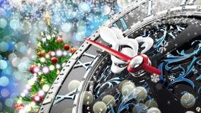 Neues Jahr ` s um Mitternacht - alte Uhr mit Sternschneeflocken und -Lichterkette vektor abbildung