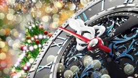 Neues Jahr ` s um Mitternacht - alte Uhr mit Sternschneeflocken und -Lichterkette stock abbildung