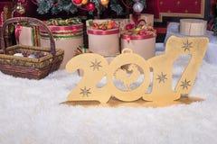 Neues Jahr 2017 stellt auf dem Hintergrund von Weihnachtsbäumen dar Lizenzfreie Stockfotos