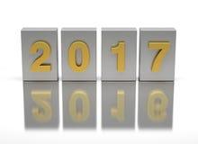 Neues Jahr 2017 und altes 2016 Stockfotos