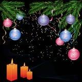 Neues Jahr und Cristmas Hintergrund mit Dekorationen Stockbild
