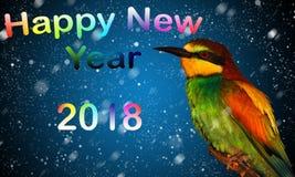 Neues Jahr 2018 und farbiger Vogel Stockbild