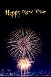 Neues Jahr 2015 und Feuerwerkshintergrund Stockbilder