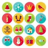 Neues Jahr-und frohe Weihnacht-Kreis-Ikonen stellten mit langem Schatten ein Stockfoto