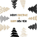 Neues Jahr-und frohe Weihnacht-Postkarte Lizenzfreies Stockbild