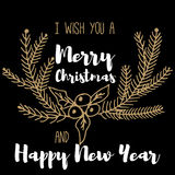 Neues Jahr-und frohe Weihnacht-Postkarte Stockbild