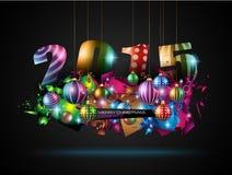 2015-neues Jahr- und glückliches Weihnachtshintergrund Stockbilder