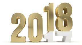 Neues Jahr 2018 und 2017 goldenes 3d vektor abbildung