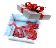 neues Jahr 2015 und guten Rutsch ins Neue Jahr-Grüße in Geschenkbox Lizenzfreie Stockbilder