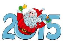 Neues Jahr 2015 und Sankt mit einem Geschenk Lizenzfreie Stockfotografie