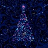 Neues Jahr und Weihnachtsbaum. Kosmischer Hintergrund Lizenzfreie Stockfotografie
