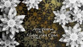 Neues Jahr 2019 und Weihnachtsentwurf Weihnachtspapier schnitt Schneeflocken mit Schatten stockbilder
