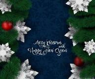 Neues Jahr 2019 und Weihnachtsentwurf Weihnachtspapier-Schnittschneeflocken lizenzfreie stockbilder
