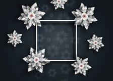 Neues Jahr 2019 und Weihnachtsentwurfshintergrund Weihnachtspapier-Schnittschneeflocken stockbilder