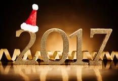 2017-neues Jahr- und Weihnachtsfeiertagshintergrund Lizenzfreies Stockfoto