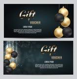 Neues Jahr-und Weihnachtsgeschenkgutschein-Schablonen-Vektor-Illustration für Ihr Geschäft Stockbild