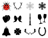 Neues Jahr und Weihnachtsikonen Stockbilder