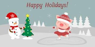 Neues Jahr und Weihnachtskarte   vektor abbildung