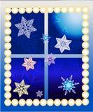 Neues Jahr verzierte Fenster Lizenzfreie Stockbilder
