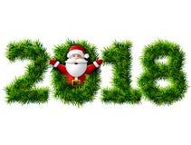 Neues Jahr 2018 von den Weihnachtsbaumasten lokalisiert auf Weiß Stockfotografie