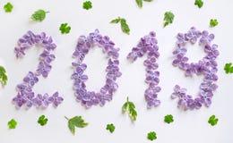 Neues Jahr 2019 von lila Blumen auf einem weißen Hintergrund stockfotos