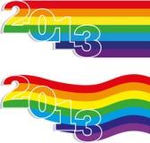 Neues Jahr von zwei Fahne Lizenzfreies Stockbild