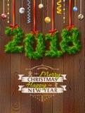 Neues Jahr 2018 von Zweigen mögen Weihnachtsdekoration Lizenzfreie Stockfotografie