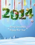 Neues Jahr 2014 von Zweigen mögen Weihnachtsdekoration Stockfotos