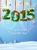 Neues Jahr 2015 von Zweigen mögen Weihnachtsdekoration Stockfoto