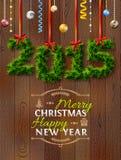 Neues Jahr 2015 von Zweigen mögen Weihnachtsdekoration Lizenzfreie Stockbilder