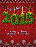 Neues Jahr 2015 von Zweigen mögen Weihnachtsdekoration Lizenzfreies Stockfoto