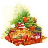 Neues Jahr-Weihnachtsbaum und Kätzchenaquarellillustrationshintergrund Lizenzfreies Stockfoto
