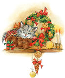 Neues Jahr-Weihnachtsbaum und Kätzchenillustrationsaquarellhintergrund Lizenzfreie Stockfotografie