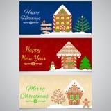 3 neues Jahr-, Weihnachtsfahne mit Lebkuchenhaus, Baum, Schneemann und andere festliche Dekoration Lizenzfreie Stockfotos