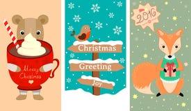 3 neues Jahr-, Weihnachtsfahne mit reizenden Tieren, Vogel und andere Dekoration Lizenzfreie Stockfotos